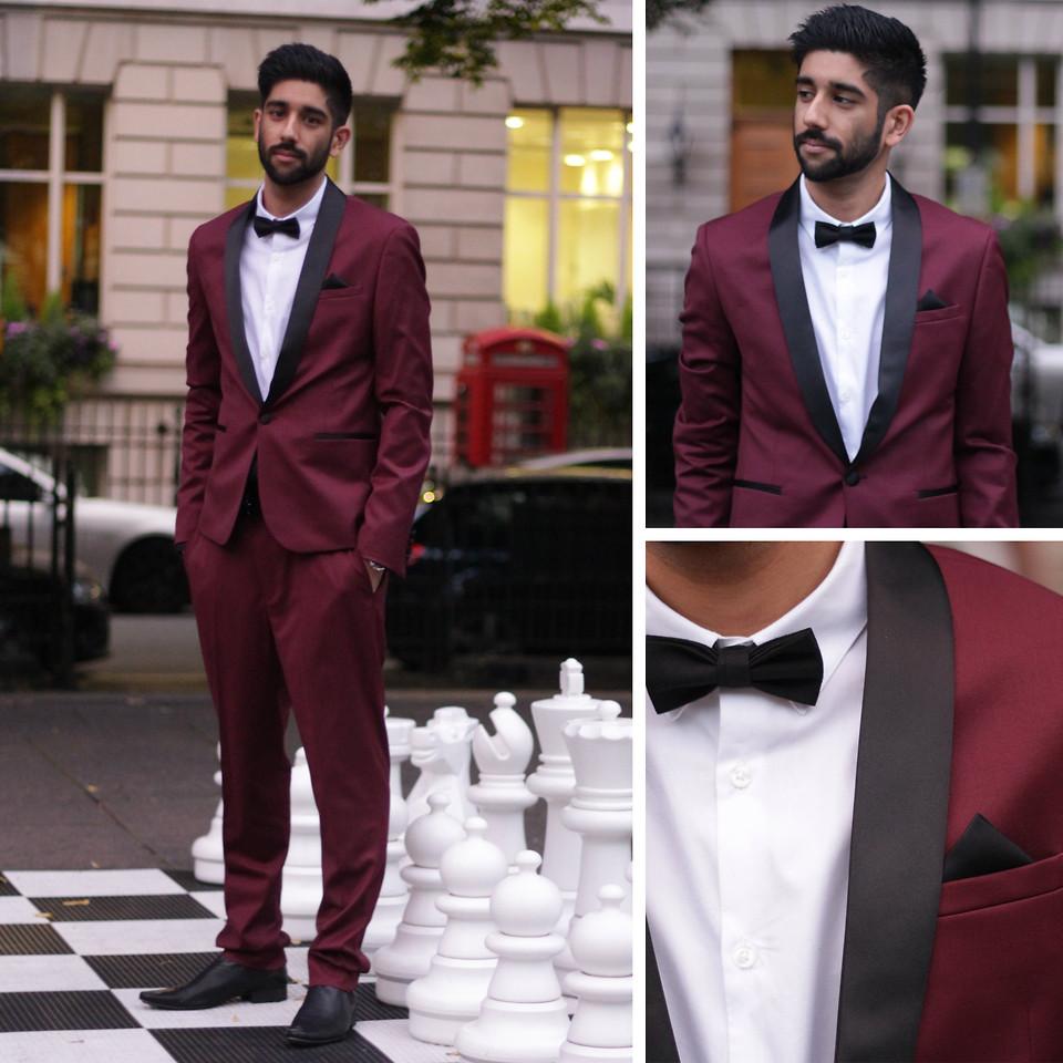 wedding suit 2021 Maroon tuxedo and black white