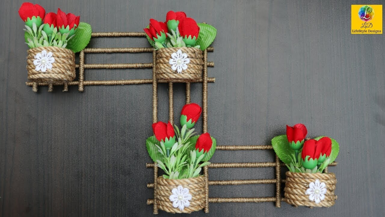 Hanging flower vases wall decoration